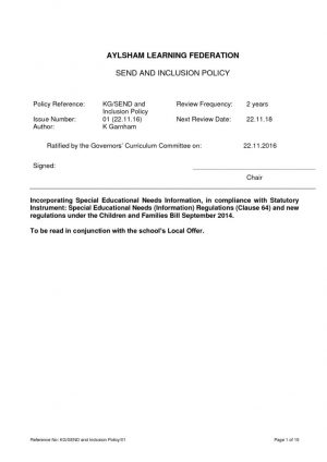 thumbnail of ALF SEND and Inclusion Policy