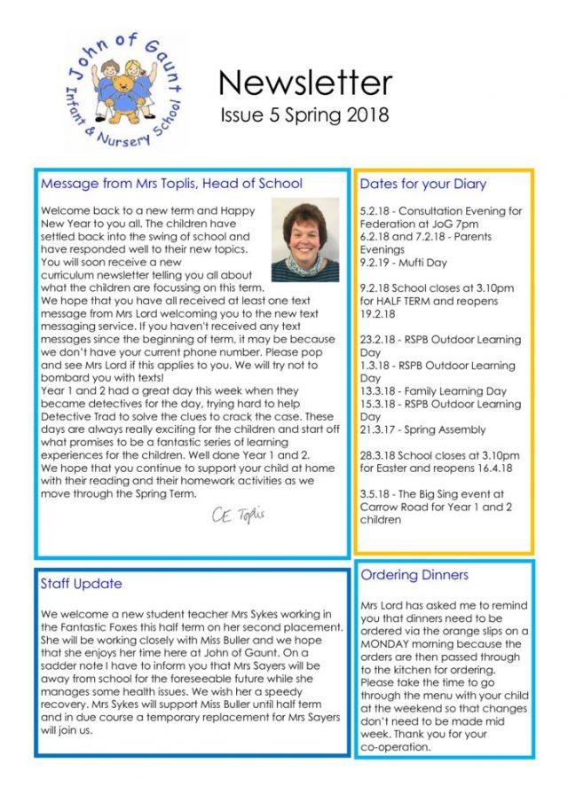 thumbnail of JOG Spring 18 Newsletter No 5