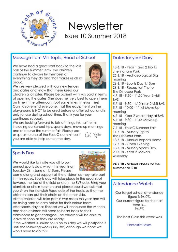 thumbnail of JOG Summer 18 Newsletter No 10