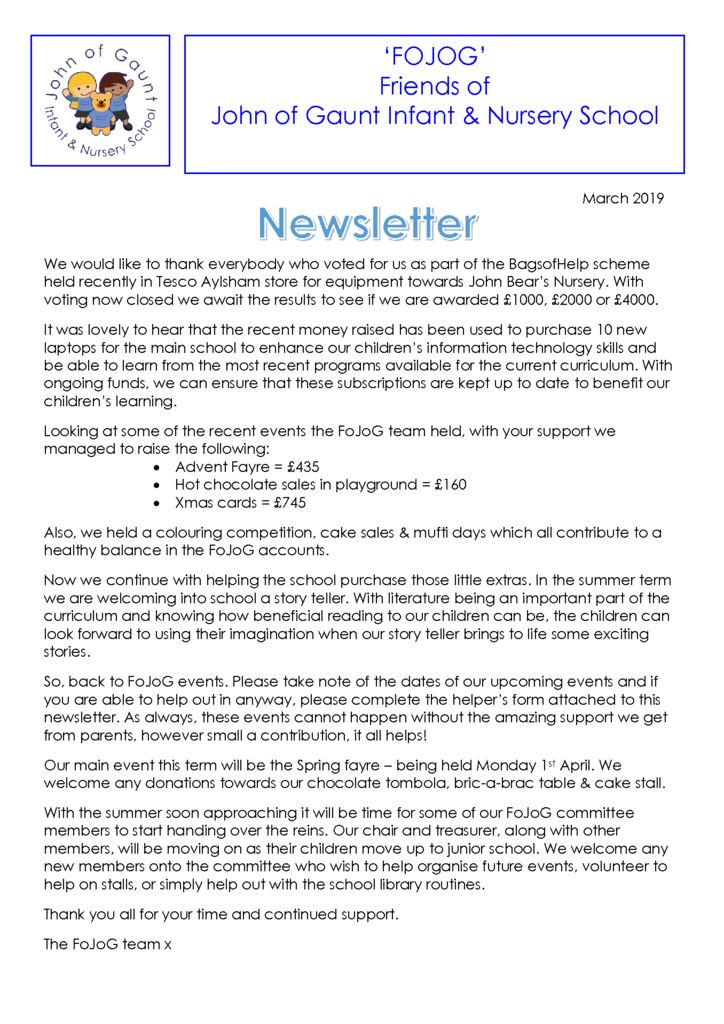 thumbnail of FOJOG Newsletter March 2019