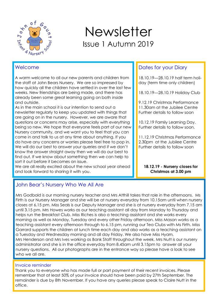 thumbnail of Autumn 19 Nursery Newsletter No 1