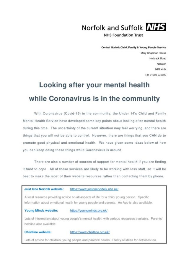thumbnail of Looking after mental health while Coronavirus is in the community_for schools+GPs