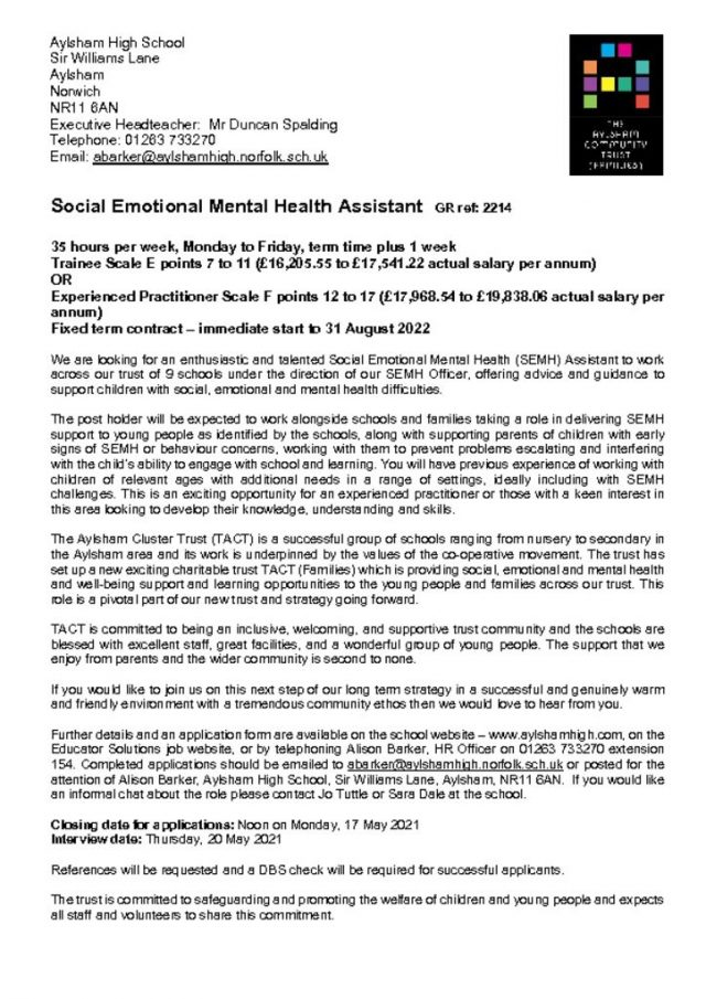 thumbnail of Advert for SEMH Assistant 05.21