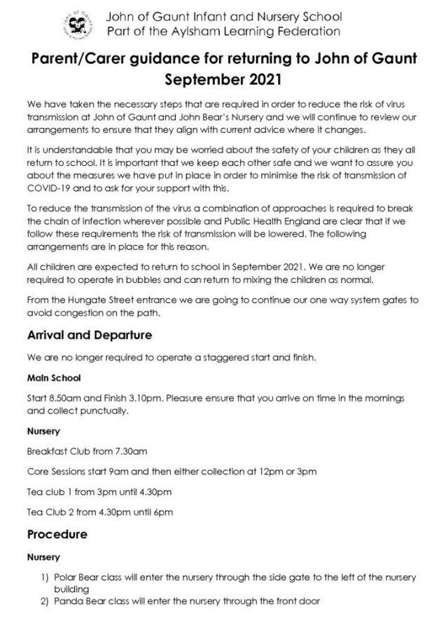 thumbnail of Parent & Carer guidance for returning to John of Gaunt September 2021 (1)